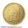 Colombia: , Colombia: Republic. Gold 20 Pesos 1869 Medellin, KM142.2, VF-XF but with an unusually high amount of surface marks on both sides. The ...