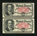 Fractional Currency:Fifth Issue, Fr. 1381 50c Fifth Issue Two Examples About New.... (Total: 2notes)