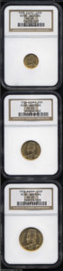 Egypt: , Egypt: Farouk gold Three Piece Set 1938, the 20, 50 and 100Piastres all in MS65 NGC. Struck for the royal wedding.... (Total:3 coins Item)