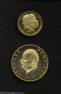 Gabon: , Gabon: Republic. Gold 5000 Francs 1971, KM11, Proof, GeorgesPompidou and 25 Francs 1960 KM2, Proof.. From the Morris GeigerColl... (Total: 2 coins Item)