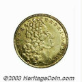 German States:Bavaria, German States: Bavaria. Maximillian II Emanuel gold MaximillianD'Or 1719, KM154, choice VF+, very attractive and scarce.. Fromthe Morri...