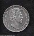 German States:Bavaria, German States: Bavaria. Ludwig II 5 Mark 1875D, KM502, lightlytoned AXF, the reverse is fully XF and lustrous, very scarcecondition.. F...