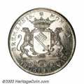 German States:Bremen, German States: Bremen. Charles VII Taler 1743-MF, KM183, Dav-2049. Choice AU-UNC, fully lustrous and semi-prooflike. There is one small pla...