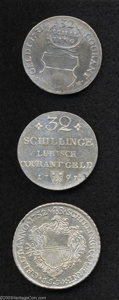 German States:Lubeck, German States: Lubeck. 18th Century Silver Trio, 32 Schillings 1731KM154, F-VF, large solder trace, Taler of 48 Schillings 1752KM168.2, D... (Total: 3 coins Item)