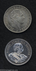German States:Saxony, German States: Saxony. Friedrich August V Taler 1849F, KM1148, VF-XF, tiny nick, plus silver medal 1889 with King Albert, 3 Mark size, 800t... (Total: 2 coins Item)