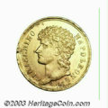 Italian States:Naples & Sicily, Italian States: Naples & Sicily. Joachim Murat gold 40 Lire 1813, KM-C113, Lustrous XF+, minor flan flaws on the edge and a few light scratc...