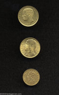 Italy: , Italy: Kingdom Gold Trio, 20 Lire 1905R KM37.1, XF but severelyscratched in circles inside the legend, 5 Lire 1863T KM17, VF with... (Total: 3 pieces Item)