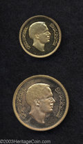 Jordan: , Jordan: King Hussein gold Pattern 1 and 5 Fils 1975, KM-Pn7 andPn8, 1395AH, both coins are mishandled proofs and the 5 Fils has al... (Total: 2 coins Item)