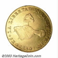 Mexico: , Mexico: Republic. Gold 8 Escudos 1847-GC-MP, KM383.6, XF+ withprooflike luster and a decent strike. There is one planchetlaminatio...