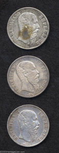 Mexico: , Mexico: Maximilian Pesos - Lot of Three, KM388.1: 1866-Mo, VF smallrim bump and XF toned, and 1867-Mo, VF-XF toned and very attract...(Total: 3 coins Item)