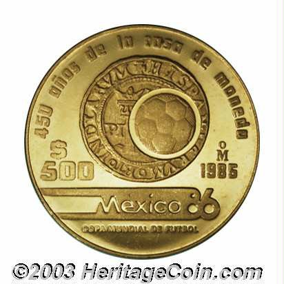 Mexico Republic Gold 500 Pesos 1985 Km507 2 World Cup Lot 13528 Heritage Auctions