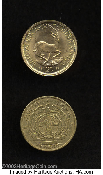 South Africa: Pair of Gold Coins, Pond 1898 Fine and 2 Rand