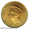 Proof Three Dollar Gold Pieces: , 1883 $3 PR66 Deep Cameo PCGS. This date is a well known ...