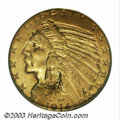 Indian Half Eagles: , 1914-D $5 MS63 PCGS. A yellow-gold representative that ...