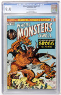 Bronze Age (1970-1979):Horror, Where Monsters Dwell #27 (Marvel, 1974) CGC NM 9.4 Off-white towhite pages....