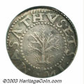 1652 SHILNG Oak Tree Shilling VF35 PCGS. Noe-14, Crosby 7-B, R.4. 71.8 grains. A well centered piece with full legends o...