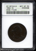Large Cents: , 1802 1C --Edge Filed--ANACS. XF Details, Net VF30. S-242, ...