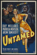 "Movie Posters:Adventure, Untamed (Paramount, 1940). One Sheet (27"" X 41""). Adventure.Starring Ray Milland, Patricia Morison, Akim Tamiroff, William ..."