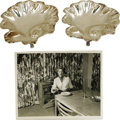 Movie/TV Memorabilia:Memorabilia, Ava Gardner Owned Candy Dishes with Photo. Two silver plate candydishes, shell shaped, owned and used by Ava Gardner. This ...