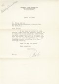 """Golf Collectibles:Autographs, 1952 Bobby Jones Signed Letter. The Golden Age golf god sends aletter of thanks for the gift of a book. He writes, """"I had..."""