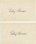 "Autographs:Index Cards, Early 1950's Chief Bender Signed Index Cards Lot of 2. ""If I had all the men I've ever handled and they were in their prim..."