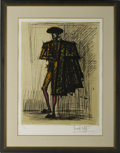 Prints:European Modern, BERNARD BUFFET (French, 1928-1999). Toreador. Signed print12/180. Matted, framed, and under glass. 29.5in. x 21in., 38....