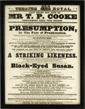 "Entertainment Collectibles:Theatre, Lovely Framed 1838 Frankenstein Theater Broadside. From theTheatre Royal, March 6, 1838, advertising ""Presumption,..."