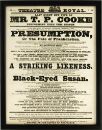 "Lovely Framed 1838 Frankenstein Theater Broadside. From the Theatre Royal, March 6, 1838, advertising ""Presumption..."