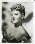 "Movie/TV Memorabilia:Autographs and Signed Items, Jean Arthur Signed Photo. A b&w 8"" x 10"" glossy of the actress,signed by her in blue ink. In Excellent condition...."