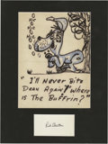 """Movie/TV Memorabilia:Autographs and Signed Items, Red Skelton Hand-Drawn Sketch and Autograph. An approximately 8.5"""" x 11"""" sketch of an inebriated hound dog drawn by the late..."""