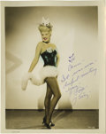 "Movie/TV Memorabilia:Autographs and Signed Items, Betty Grable Signed Photo. A color 8"" x 10"" glossy of the actress,inscribed and signed by her in blue ink. In Very Fine to ..."