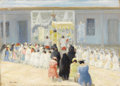 Paintings, BERT GREER PHILLIPS (American 1868-1956). Corpus Christi Sunday in Taos. Oil on panel. 13 x 18 inches (33 x 45.7 cm). Si...