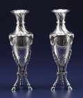 Silver Holloware, French:Holloware, A Pair of French Silver Vases. Unknown maker, Montpellier, France.Circa 1775-1790. Silver. Marks: (fleur-de-lis under cro...