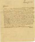 "Autographs:Military Figures, Marquis de La Fayette Autograph Letter Signed ""Lafayette"". One page with integral address leaf, 7.25"" x 9"" Lagrange, Jul..."