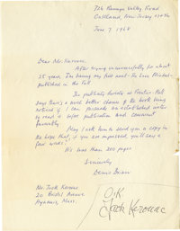 """Jack Kerouac Autograph Note Signed. One page, 8.5' x 11"""", Hyannis, Massachusetts, after June 7, 1968. A struggling..."""