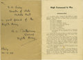 """Autographs:Military Figures, Montgomery of Alamein Printed Pamphlet Signed """"To/R.G. Casey/Minister of State/Middle East/a great friend of the/Eighth Ar..."""