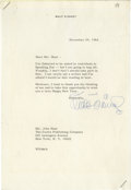 "Autographs:Celebrities, Walt Disney Typed Letter Signed. One page, personal letterhead,7.25"" x 10.5"", December 29, 1964, to Mr. John Hunt of Curtis..."
