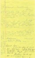 """Autographs:Celebrities, Howard Hughes Autograph Letter Signed """"Howard"""" to wife JeanPeters. They lived in separate rooms during their 14 years o..."""