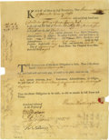"Autographs:Statesmen, Declaration Signer Thomas Nelson Jr. Document Signed ""ThosNelson Jr."" One page, partly printed, with docketing andnota..."