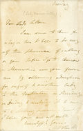 Autographs:Authors, Mary Shelley Autograph Letter Signed, no place, no date. From Mary Shelley to Lady Sutton, the portion of this letter visibl...