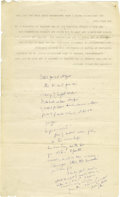 "Autographs:U.S. Presidents, John F. Kennedy Hand-Notated Typed Speech on Oil with 80+ words in his hand. Seven pages, 8.5"" x 14"", Washington D.C., date..."