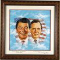 "Autographs:U.S. Presidents, Ronald Reagan and George Bush original oil painting signed on themat: ""To Mort Sillman - With Best Wishes./Ronald Reagan""..."