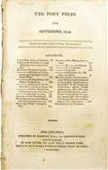Books:Periodicals, The Port Folio, for September, 1818, Containing a ScathingReview of Frankenstein. (Philadelphia: Harrison Hall,...