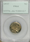 Proof Buffalo Nickels: , 1937 5C PR66 PCGS. Moderately reflective beneath blue and goldpatina. The devices are boldly defined and the surfaces are ...