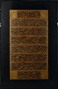 Decorative Arts, Continental:Other , SOUTH EAST ASIAN MANUSCRIPT PANELS. Eight South East Asian paintedmanuscript panels, each with black text against a gold ...