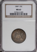 Seated Quarters, 1849 25C MS63 NGC....