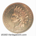 Proof Indian Cents: , 1890 1C PR65 Red PCGS. Rich red color covers each side of ...