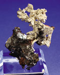"Minerals:Native Metals, NATIVE SILVER ""TREE"" ON NATIVE COPPER. ..."