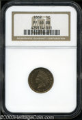 Proof Indian Cents: , 1869 1C PR65 Red and Brown NGC. Slightly muted cherry-red ...