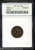 Proof Indian Cents: , 1873 1C Closed 3 PR64 Red and Brown ANACS. Blazing, ...